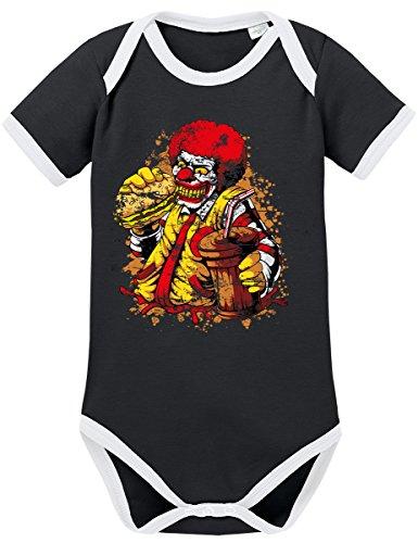 TShirt-People TSP Ronald Zombie Mc Clown Kontrast Baby Body 74 Schwarz
