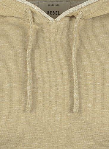 REDEFINED REBEL Murray Herren Strickpullover Hoodie Grobstrick Pulli mit Kapuze aus hochwertiger 100% Baumwolle Sand
