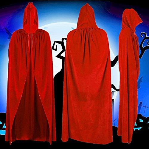 dairyshop Halloween Party Hexe Samt Umhang, Adult Red Bademantel mit Kapuze Cape Cosplay Kostüm (Die Purge Kostüme Für Mädchen)