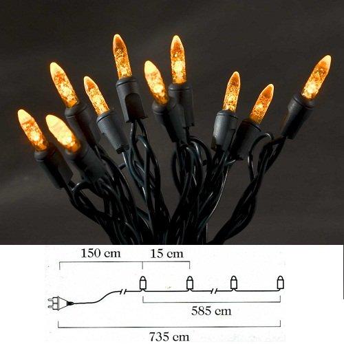 LED Lichterkette / für Innen (IP20) /  230V Innen / 40 orange Dioden / grüne Kabel ()