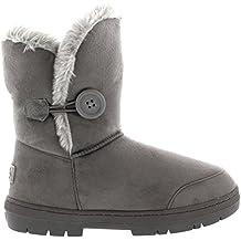 Mujeres solo botón totalmente alineada botas piel a prueba de agua nieve del invierno