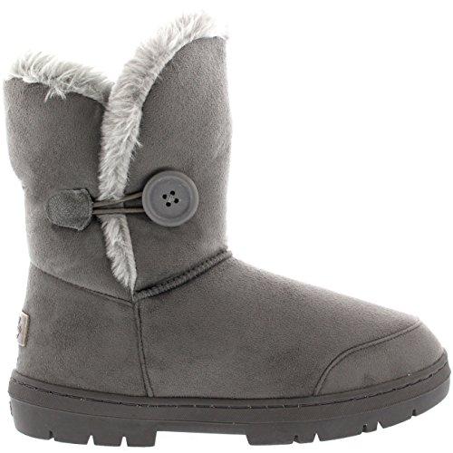 Womens singolo pulsante Completamente allineato pelliccia impermeabile pioggia invernale Snow Boots - Grigio - 6