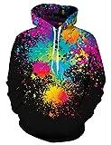 Rave on Friday 3D Hoody Jungen Sweatshirt Schwarze Graffiti Drawstring Casual Pullover Jumper Bekleidung für Familie mit Tasche M