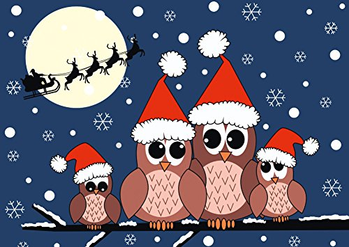 Biglietti Di Natale Divertenti.Gufi Festeggia Il Natale 12 Pezzi Gufi Divertenti Biglietti Di