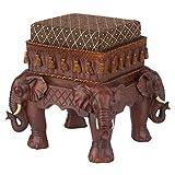 Design Toscano Maharajah Elefanten Indisches Dekor Gepolsterter Fußhocker, Polyresin, Holzton, 38 cm