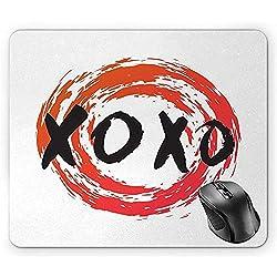 XOXO-Mausunterlage, Grungy Bürsten-Malerei-Kreis-Rahmen mit Küssen lieben dunkle Koralle gebrannte orange Holzkohle-Grau-Weiß-Mausunterlage