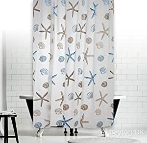 New Elegant Bathroom Shower Curtain Extra Long with Hooks 180 x 200 cm (Ocean)