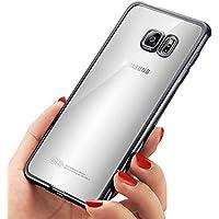 Custodia Galaxy S7 Edge ,Mture Ultra Sottile Chiaro Cristallo Trasparente Placcatura TPU Silicone Custodia Case Goccia Protezione Anti-graffio Cover Invisibile Copertura Tacsa Caso per Samsung Galaxy S7 Edge-Nero