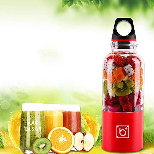MJK Hogar pequeño exprimidor automático, 500 ml portátil exprimidor taza usb recargable verduras jugo de frutas herramientas fabricante taza licuadora mezclador botella,rojo