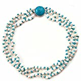 Orchira NHR233 Silver Alloy Clasp Ladies' White Pearl andf Turquoise Chip Necklace