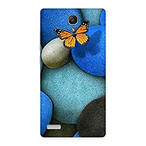 Stylish Pebbls and Butterfly Multicolor Back Case Cover for Redmi Note