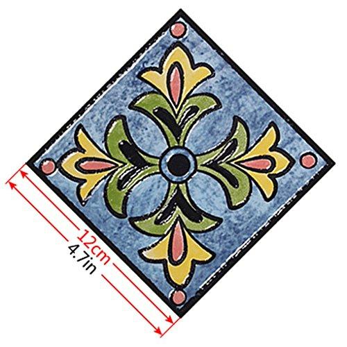 Focus 10pcs Bunte Retro Blumen-Fußboden-Fliese Aufkleber Washroom Halle Tile Aufkleber wasserdichte Tapete Dekor DS-037 12cm*12cm