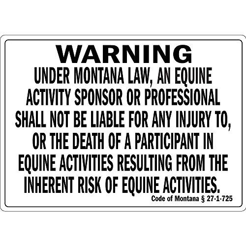 Metallschild mit Aufschrift Warning Under Montana Law an Equine Activity Aluminium Wandposter Hof, Zaun, Dekoration, Geschenk -