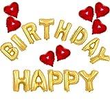 KAKOO 20er Geburtstag Folienballon Luftballon Set 40cm HAPPY BIRTHDAY Gold Riesige Buchstaben Ballons und 7 rot Herzballons