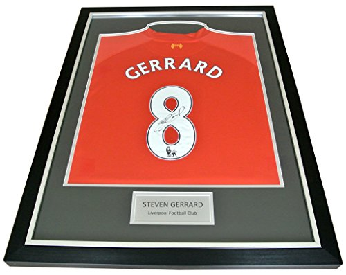 69a79dd36 Sportagraphs Steven Gerrard Signed FRAMED Shirt Photo Autograph Liverpool  Name  8 PROOF   COA PERFECT GIFT from Sportagraphs