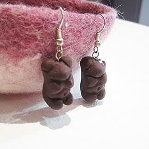 Jonquille - bijoux originaux - Boucle d'oreille - fabrique artisanale - l'ourson en guimauve enrobé de chocolat