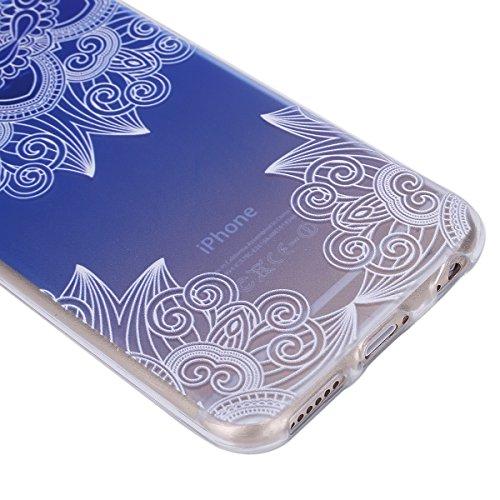 Coque iPhone 6 Plus Flexible Souple Case,iPhone 6s Plus Housse Étui Transparente,Ekakashop Ultra Mince Coque de Protection en Soft TPU Silicone avec Motif Dentelle Diagonal Protecteur Back Flexible Ge Motif Bleu Dégradé