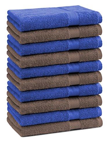 Betz lot de 10 serviettes débarbouillettes taille 30x30 cm 100% coton Premium couleur bleu royal et marron noisette