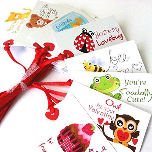 Adorebynat Party Decorations - EU Valentinstag Geschenkanhänger mit Tier Phrase - Kind-Jungen-Mädchen-Spaß Valentine Sprüche - Set 24 -