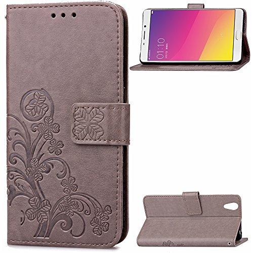 Kihying Hülle für Oppo R9 / Oppo F1 Plus Hülle Schutzhülle PU Leder Flip Wallet Fashion Geschäft HandyHülle (Grau - SD06)