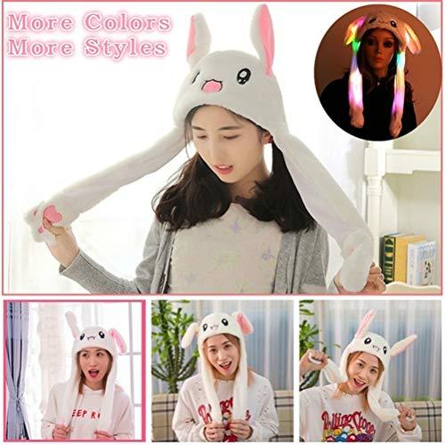 Egosy Dame Mädchen Lustiger Tier Ohr Hut Plüsch-Häschen-Hut mit Buntem LED-Licht beweglichen springenden Kaninchen-Hutohr