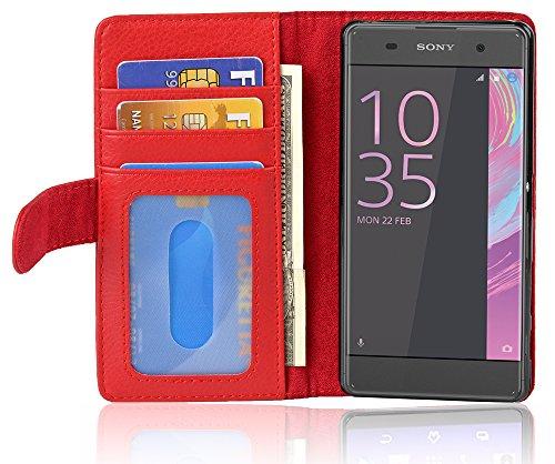 Preisvergleich Produktbild Cadorabo Hülle für Sony Xperia XA - Hülle in Inferno ROT - Handyhülle mit 3 Kartenfächern - Case Cover Schutzhülle Etui Tasche Book Klapp Style