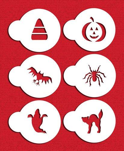Designer Schablonen C065Halloween Cupcake und Cookie Schablone Set mit Katze, Candy Corn, Spinne, Gespenst, Fledermaus und Kürbis, beige/halbtransparent