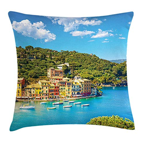 Italy Throw Pillow Cushion Cover, Portofino Landmark Aerial Panoramic View Village and Yacht Little Bay Harbor, Decorative Square Accent Pillow Case, 18 X 18 inches, Blue Green Yellow (Green Bay Transfer)