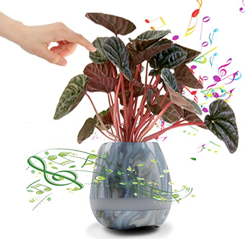 Musik Blumentopf Mini Bluethooth Lautsprecher Pflanztopf USB wiederaufladbar Anzuchttopf Zuhause Büro Deko Kräutertopf Orchideentopf Anzuchttopf (Marmor)