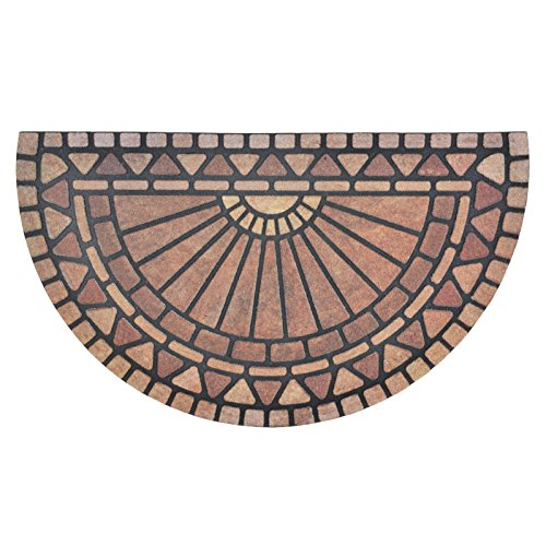 Flocked Rubber Half Moon Sunrise Mosaic Design Doormat 75cm Nylon Indoor Outdoor