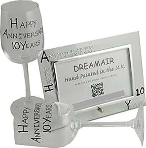 Happy dixième année (10 ans) (Tin) anniversaire-Verre à vin-Cadre Photo Gift...