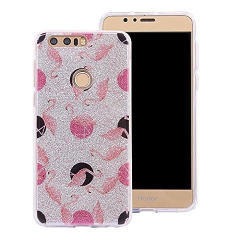 Ecoway Huawei Honor 8 Case Cover, Coque de téléphone IMD Silicone Housse en silicone Housse de protection Housse pour téléphone portable pour Huawei Honor 8 - Flamingo