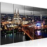 Bilder Köln Wandbild 150 x 60 cm Vlies - Leinwand Bild XXL Format Wandbilder Wohnzimmer Wohnung Deko Kunstdrucke Weiß 5 Teilig - MADE IN GERMANY - Fertig zum Aufhängen 601556c