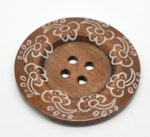 The Bead und Button Box 3Große Boho Design Reichhaltige Kaffee Farbige Cloud Design Knöpfe aus Holz 60mm Geeignet für Handtaschen, Pullover, Mäntel, Kissen, Home Decor