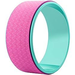 Rueda para yoga Reehut de 32 x 12,7cm, resistente y de gran calidad, para rodar y estirar la espalda, con acolchado grueso para posturas de yoga dharma, flexión de columna y estiramiento, incluye guía de posturas (idioma español no garantizado), rosa