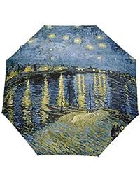 bennigiry noche estrellada de Van Gogh de la automática 3 plegable sombrilla sol protección Anti-UV paraguas…