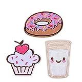 3 Stück Donuts Eis Milch - cup Geformt Aufnäher Applikation Embroidered Iron on Patches Für kinder Hut Jeans