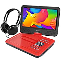 WONNIE 10.5�?� Portable DVD Player with 270° Swivel Screen Built-in Rechargeable Battery SD Card and USB, Direct Play in Formats AVI/MP3/JPEG/RMVB (10.5, Red)
