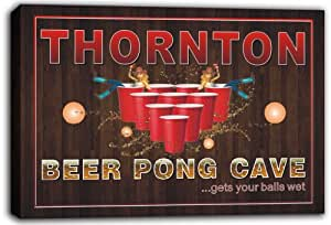 scqr1-2263 THORNTON Beer Pong Cave Bar Game Stretched Canvas Print Sign