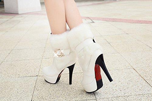 Autunno donna e confortevole suola spessa invernale impermeabile piattaforma stivali con tacchi alti stivali white