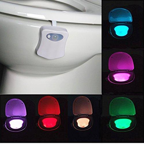 SOLMORE Lampe de Toilette WC LED Veilleuse Capteur Détecteur PIR 8 Changement de Couleurs Éclairage Cuvette Siège Cabinet d'Aisance Salle de Bain Lavabo Créatif Cadeau pour Mamie Famille Enfant
