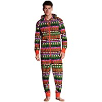 Mono Estampado navideño Hombre Conjunto de Pijama de Invierno Sudadera de Manga Larga con con Capucha con Cordones Cremallera Gusspower