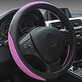 XuanMax Universal Mikrofaser Leder Lenkradbezug Atmungsaktiv Fahrzeug Lenkradhulle Anti-Rutsch Lenkradschoner Auto Lenkrad Abdeckung Lenkradabdeckung SpleiB Hit der Farbe Steering Wheel Cover 38cm - Rose