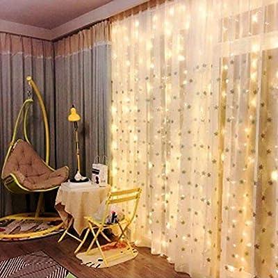 OOTOO Lichtervorhang LED Lichterketten Lichtvorhang Lichterkettenvorhang Warmweiß Innen außen