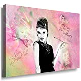 Julia-Art Leinwandbilder - Wandbild Audrey Hepburn Sprüche, Zitate - Bild auf Leinwand XXL 60 x 40 cm - Große Sortiment - Kunstdrucke mit Haken sofort aufhängbar au-01-2