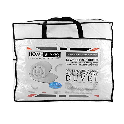 Homescapes   Luxury White Goose Feather & Down Duvet