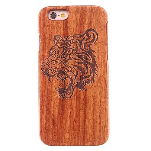 Coque iPhone 6/6s Plus Anti Choc Case en Bois Naturel Forepin® Réel Etui Couvert et Housse en Wood Dur dans Motif de Sculpté élégante Protecteur pour iPhone 6/6s Plus (Boussole) Tigre