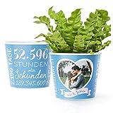6. Hochzeitstag Geschenk – Blumentopf (ø16cm) | Deko Geschenke zur Zuckerhochzeit für Mann oder Frau mit Herz Bilderrahmen für 1 Foto (10x15cm) | Glücklich Verheiratet - 6 Jahre