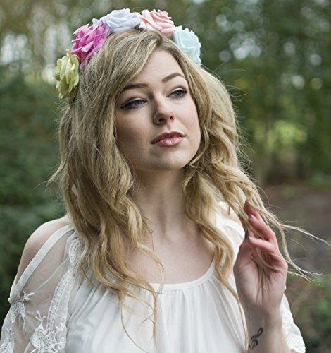 Grand Pastel Rose Fleur Bandeau cheveux Couronne Guirlande Rose Bleu Festival VTG x-94 * * * * * * * * exclusivement vendu par – Beauté * * * * * * * *