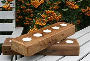Reclaimed Pine Wooden Tea Light Holder Made by A British Craftsman (35cm x 10cm x 5cm)